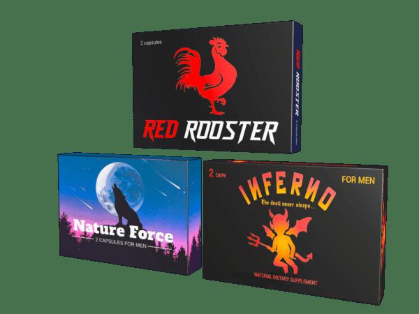 6 kapszulás potencianövelő csomag: Nature Force (2), Inferno (2), Red Rooster (2). 15 000 Ft felett ingyenes szállítással!